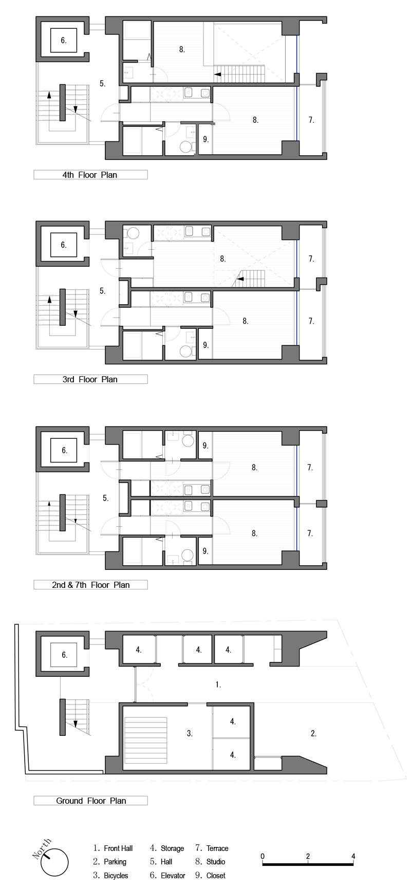 Apartment in katayama elevation section and floor plans for Japanese apartment plans